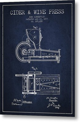 1877 Cider And Wine Press Patent - Navy Blue Metal Print by Aged Pixel