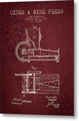 1877 Cider And Wine Press Patent - Red Wine Metal Print by Aged Pixel