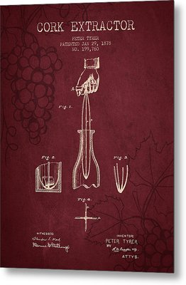 1878 Cork Extractor Patent - Red Wine Metal Print by Aged Pixel