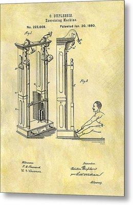 1880 Exercising Machine Patent Metal Print by Dan Sproul