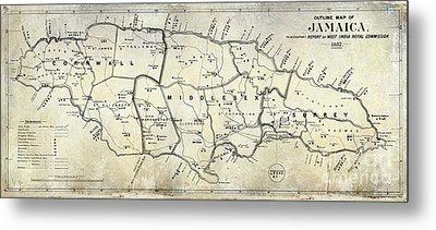 1882 Jamaica Map Metal Print by Jon Neidert