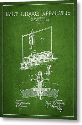 1882 Malt Liquor Apparatus Patent - Green Metal Print by Aged Pixel
