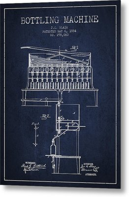 1884 Bottling Machine Patent - Navy Blue Metal Print by Aged Pixel