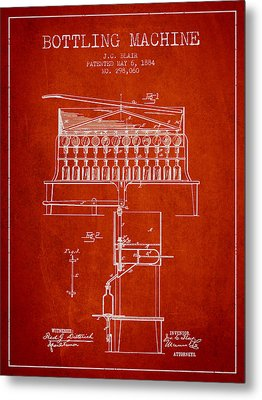1884 Bottling Machine Patent - Red Metal Print by Aged Pixel