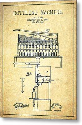 1884 Bottling Machine Patent - Vintage Metal Print by Aged Pixel