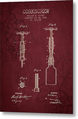 1884 Corkscrew Patent - Red Wine Metal Print by Aged Pixel