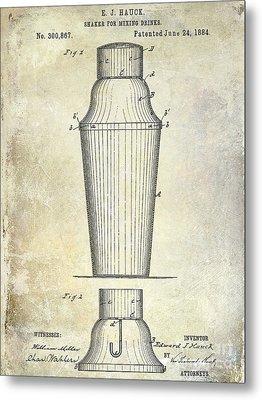 1884 Drink Shaker Patent Metal Print by Jon Neidert