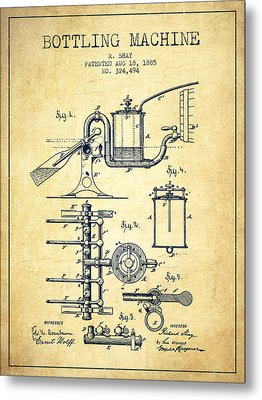 1885 Bottling Machine Patent - Vintage Metal Print by Aged Pixel