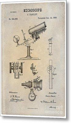 1886 Microscope Patent Art Fasoldt 1 Metal Print by Nishanth Gopinathan