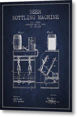 1888 Beer Bottling Machine Patent - Navy Blue Metal Print by Aged Pixel