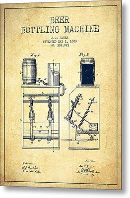 1888 Beer Bottling Machine Patent - Vintage Metal Print by Aged Pixel