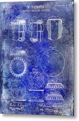 1892 Bottle Cap Patent Blue Metal Print by Jon Neidert