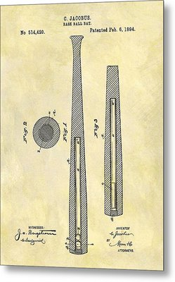 1894 Baseball Bat Patent Metal Print by Dan Sproul
