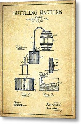 1894 Bottling Machine Patent - Vintage Metal Print by Aged Pixel