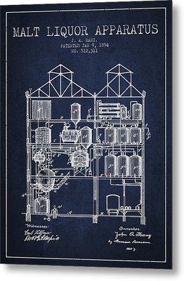 1894 Malt Liquor Apparatus Patent - Navy Blue Metal Print by Aged Pixel