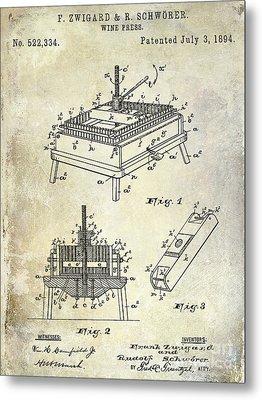 1894 Wine Press Patent Metal Print by Jon Neidert