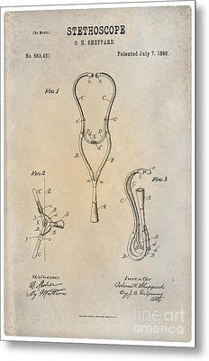 1896 Stethoscope Patent Art Sheppard 1 Metal Print by Nishanth Gopinathan