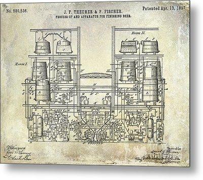 1897 Beer Brewering Patent  Metal Print by Jon Neidert