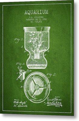 1902 Aquarium Patent - Green Metal Print by Aged Pixel