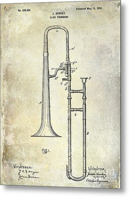 1902 Trombone Patent Metal Print by Jon Neidert