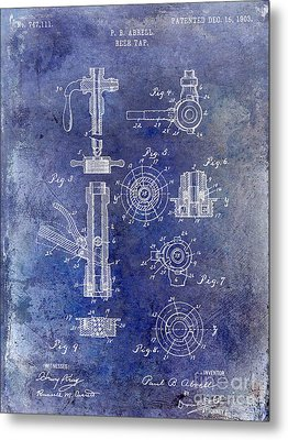 1903 Beer Tap Patent Blue Metal Print by Jon Neidert