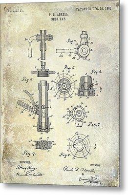 1903 Beer Tap Patent Metal Print by Jon Neidert