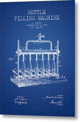 1903 Bottle Filling Machine Patent - Blueprint Metal Print by Aged Pixel