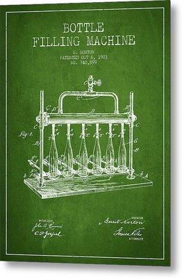 1903 Bottle Filling Machine Patent - Green Metal Print by Aged Pixel