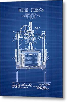 1903 Wine Press Patent - Blueprint Metal Print by Aged Pixel