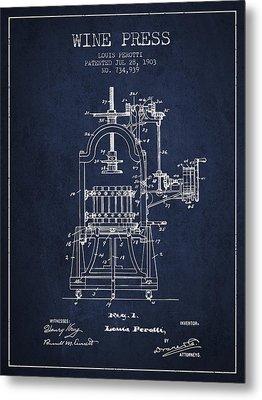 1903 Wine Press Patent - Navy Blue 02 Metal Print by Aged Pixel