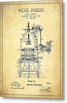 1903 Wine Press Patent - Vintage 02 Metal Print by Aged Pixel