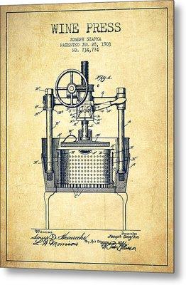 1903 Wine Press Patent - Vintage Metal Print by Aged Pixel