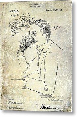 1909 Mustache Guard Patent Metal Print by Jon Neidert