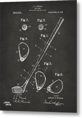 1910 Golf Club Patent Artwork - Gray Metal Print by Nikki Marie Smith