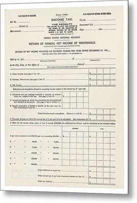 1913 Federal Income Tax 1040 Form. The Metal Print by Everett