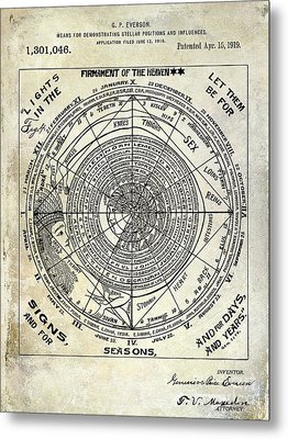 1919 Astrology Patent Metal Print by Jon Neidert