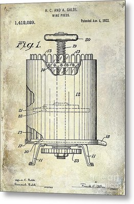 1922 Wine Presspatent  Metal Print by Jon Neidert