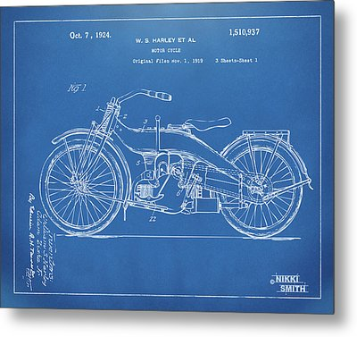 1924 Harley Motorcycle Patent Artwork Blueprint Metal Print by Nikki Marie Smith