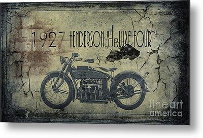 1927 Henderson Vintage Motorcycle Metal Print by Cinema Photography