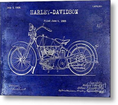 1928 Harley Davidson Patent Drawing Blue Metal Print by Jon Neidert