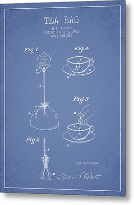 1928 Tea Bag Patent - Light Blue Metal Print by Aged Pixel
