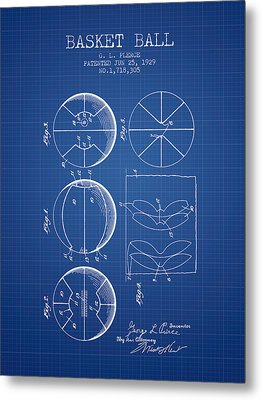 1929 Basket Ball Patent - Blueprint Metal Print by Aged Pixel