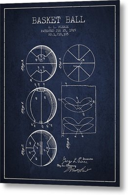 1929 Basket Ball Patent - Navy Blue Metal Print by Aged Pixel