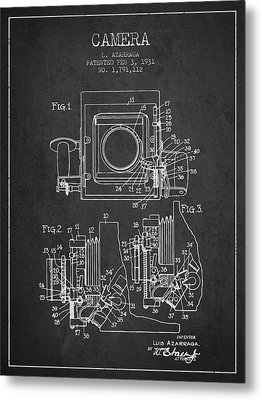 1931 Camera Patent - Charcoal Metal Print by Aged Pixel