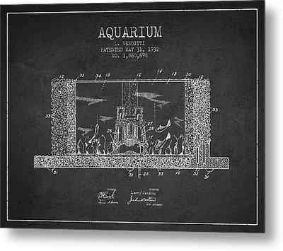 1932 Aquarium Patent - Charcoal Metal Print by Aged Pixel