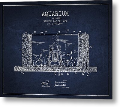 1932 Aquarium Patent - Navy Blue Metal Print by Aged Pixel