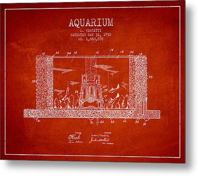 1932 Aquarium Patent - Red Metal Print by Aged Pixel