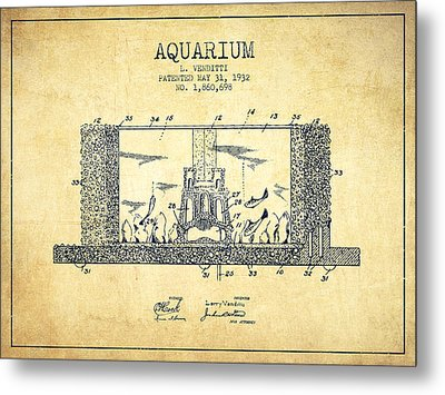 1932 Aquarium Patent - Vintage Metal Print by Aged Pixel