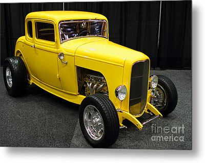 1932 Ford 5 Window Coupe . Yellow . 7d9275 Metal Print by Wingsdomain Art and Photography
