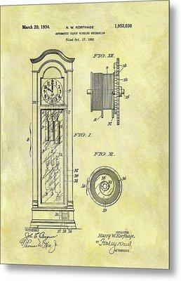 1934 Grandfather Clock Patent Metal Print by Dan Sproul